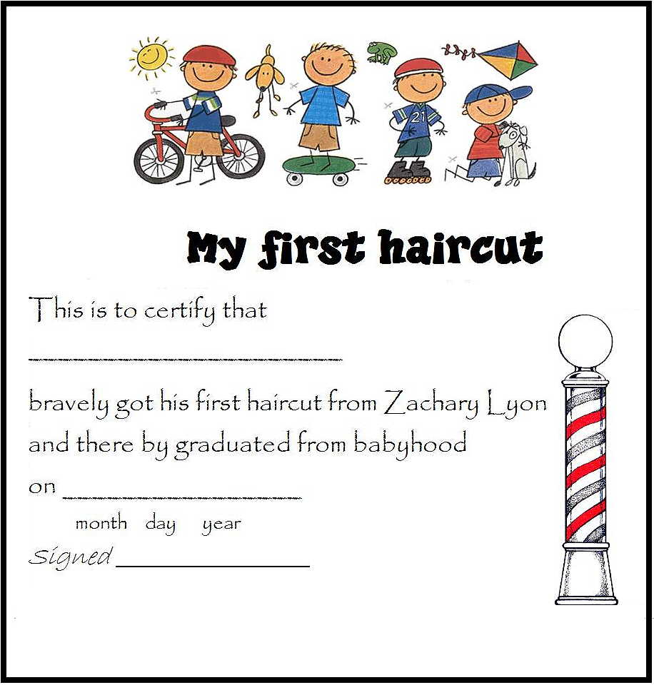 my first haircut certificate template - skater boy haircut pictures
